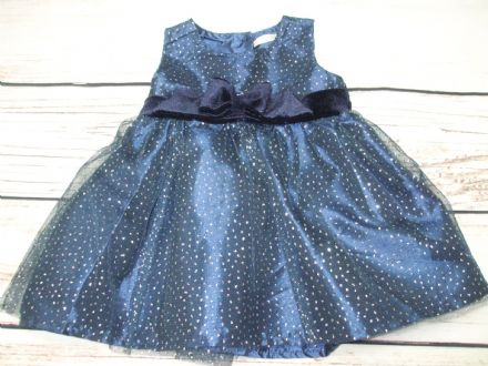 Baby Girls Navy Blue with Silver Sparkles Occasion Dress